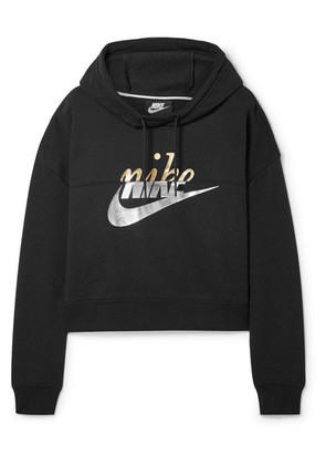 Nike - Rally Cropped Printed Cotton-blend Hoodie - Black