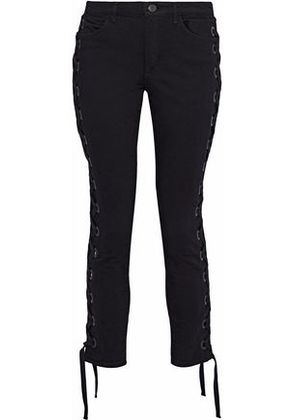 3x1 Woman Lacy Lace-up Mid-rise Skinny Jeans Black Size 24