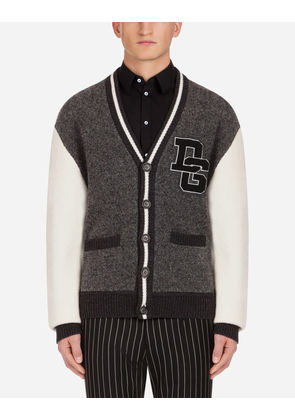 Dolce & Gabbana Knitwear - WOOL BLEND CARDIGAN WITH PATCH GRAY
