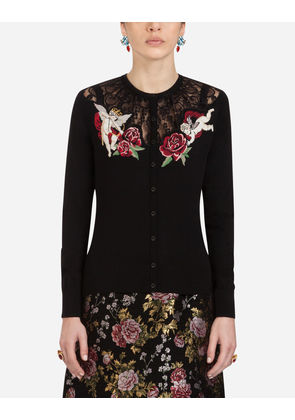 Dolce & Gabbana Knitwear - WOOL AND SILK CARDIGAN BLACK