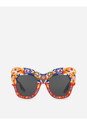 Dolce & Gabbana Sunglasses - SQUARE SUNGLASSES IN HAND-PAINTED WOOD HANDPAINTED CARRETTO PRINT