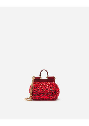 Dolce & Gabbana Mini Bags and Clutches - MICRO SICILY BAG IN SATIN WITH EMBROIDERIES RED
