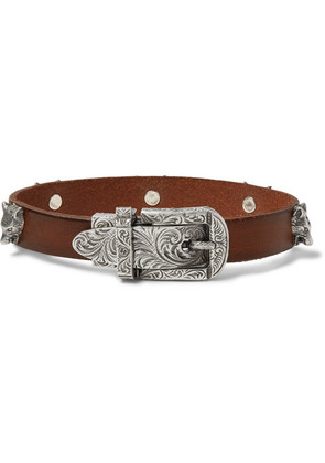 Burnished-leather And Silver-tone Bracelet