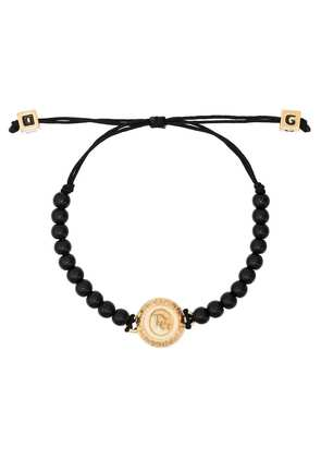 Dolce & Gabbana Logo engraved beaded bracelet - Black