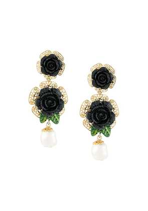 Dolce & Gabbana floral embellished drop earrings - Metallic