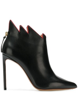 Francesco Russo jagged collar boots - Black