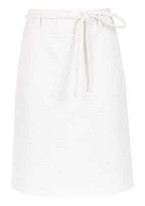 Egrey straight skirt with lace up detail - White