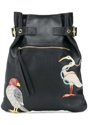 Red Valentino bird embroidered backpack - Black