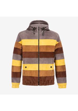 Bally Colourblock Stripe Suede Parka Multicolor, Men's suede hooded jacket in multi-color