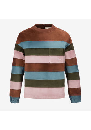 Bally Colourblock Striped Suede Jumper Brown, Men's calf suede jumper in multi-coconut