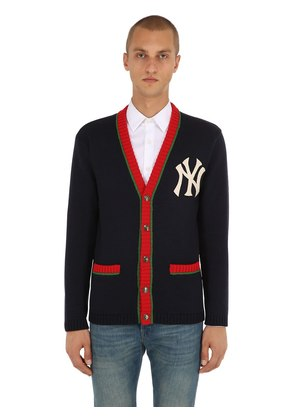 NY EMBROIDERED WOOL KNIT CARDIGAN