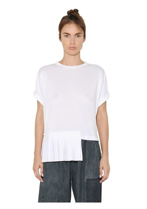 VISCOSE JERSEY T-SHIRT WITH PLISSE PANEL