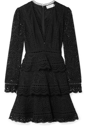 Zimmermann - Tali Tiered Crochet-trimmed Broderie Anglaise Cotton Mini Dress - Black