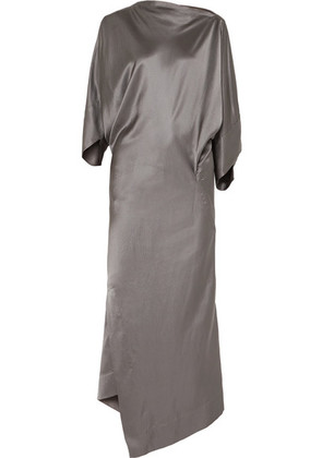 Vivienne Westwood - Draped Hammered Silk-satin Midi Dress - Gunmetal
