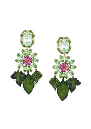 Dolce & Gabbana hanging leaves earrings - Green
