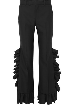 Gucci - Ruffled Wool And Mohair-blend Flared Pants - Black
