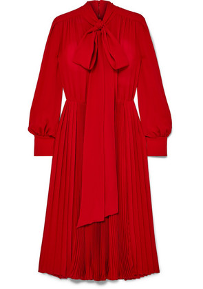 Valentino - Pussy-bow Pleated Silk Crepe De Chine Dress - Red