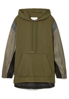 Koché - Paneled Cotton-jersey, Twill And Piqué Hoodie - Army green