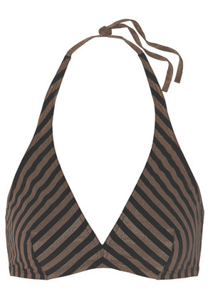 Eres - Backgammon Mister Striped Stretch-lurex Halterneck Bikini Top - Black