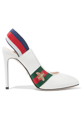 Gucci - Sylvie Grosgrain-trimmed Leather Slingback Pumps - White