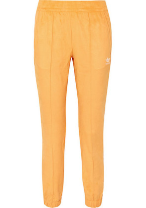 adidas Originals - Striped Faux Suede Track Pants - Yellow