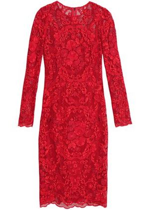 Dolce & Gabbana Woman Cotton-blend Lace Dress Red Size 38