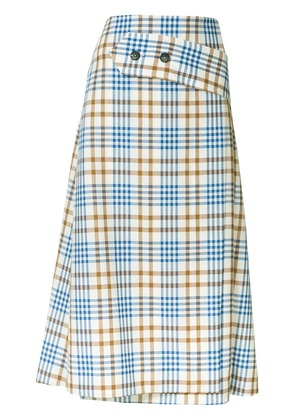 Victoria Beckham A-line checked skirt - Brown