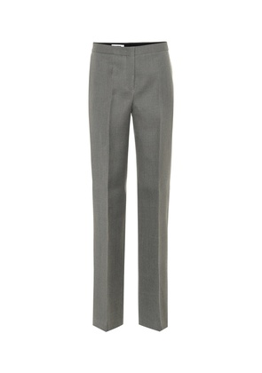 Wool mid-rise straight pants