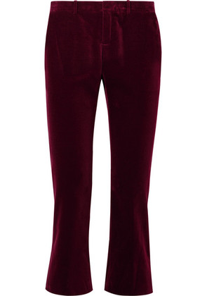 Saint Laurent - Cropped Cotton-velvet Flared Pants - Burgundy