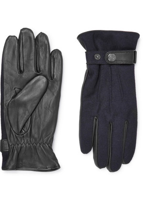 Flannel And Leather Gloves