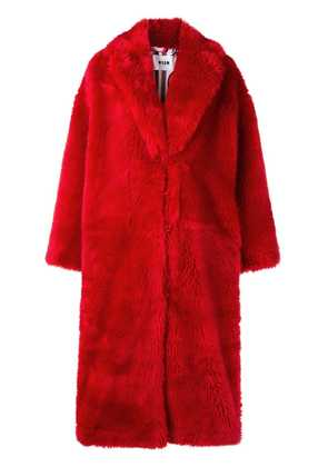 MSGM long concealed front coat - Red