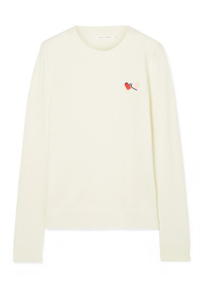 Chinti and Parker - Twin Heart Badge Embroidered Cashmere Sweater - Cream