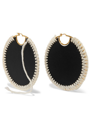 Loewe - Gold-plated, Leather And Wool Earrings - Black