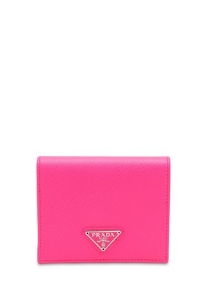TRIANGLE LOGO SAFFIANO SMALL WALLET