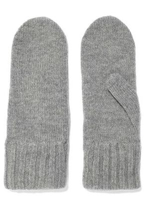 Iris & Ink Woman Jeanne Mélange Wool And Cashmere-blend Mittens Gray Size ONESIZE
