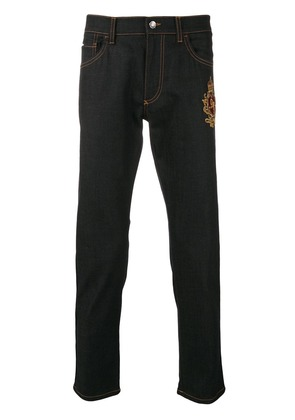 Dolce & Gabbana tapered patch jeans - Blue