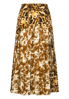 Victoria Beckham print pleated skirt - Brown