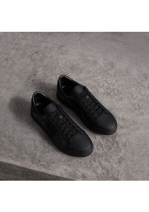 Burberry London Check and Leather Sneakers, Grey