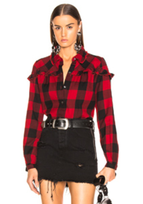 FRAME Ruffle Check Top in Red,Plaid