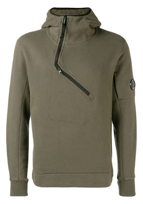 CP Company off-centre zip hoodie - Green