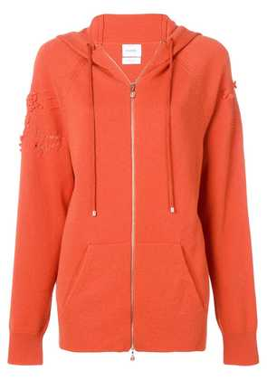 Barrie laddered stitch zipped hoodie - Orange