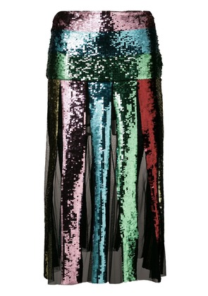 Circus Hotel striped sequin skirt - Black