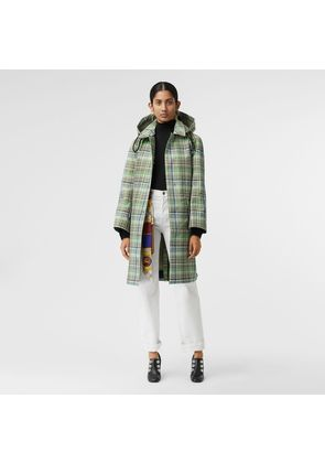 Burberry Detachable Hood Check Bonded Cotton Car Coat, Green