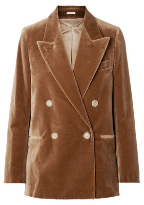 Acne Studios - Double-breasted Cotton-velvet Blazer - Camel