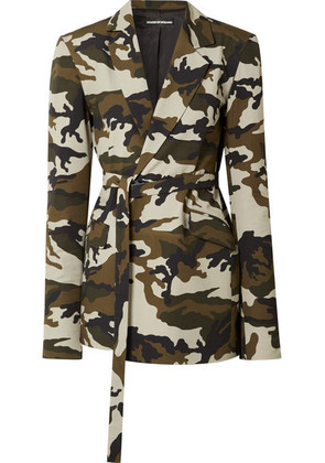House of Holland - Oversized Belted Camouflage-print Cotton-canvas Blazer - Army green
