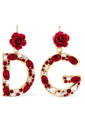 Dolce & Gabbana - Gold-plated, Enamel And Crystal Earrings - one size