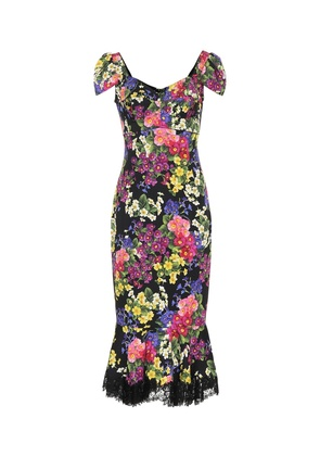 Floral stretch silk-blend dress