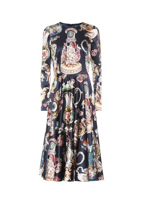 Printed stretch silk dress