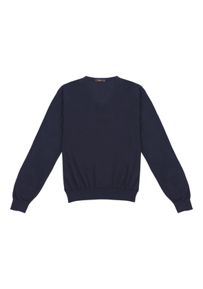 Cifonelli Navy Cashmere And Silk V-neck Sweater