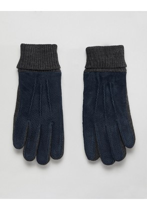Dents Kendal suede gloves with knitted cuff - Navy